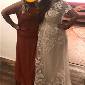 David's Bridal Dresses - Sienna Flounced Crinkle Chiffon Bridesmaid Dress